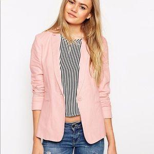 ASOS 6 Blush Pink Linen Blazer Jacket